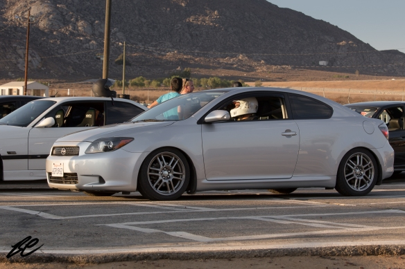 Alex, in his Scion tC, staging for the first run of the evening.