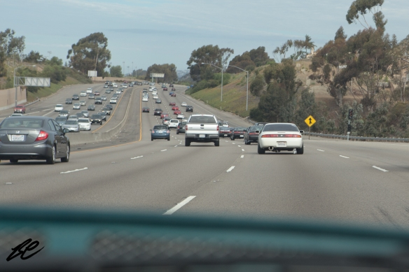 20+ Nissans heading northbound towards Irvine, CA.